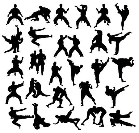 Martial art Sport Activity Silhouettes collection, art vector design Vettoriali