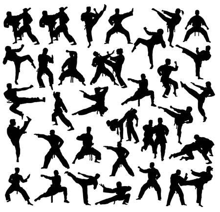空手と柔道スポーツ活動シルエット コレクション、アートのベクトルのデザイン