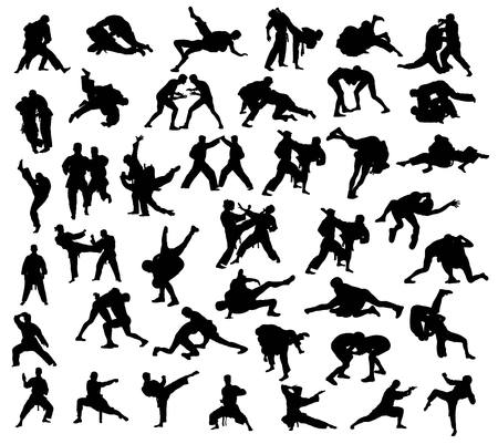 Kung Fu Sport Activity Silhouettes collection, art vector design