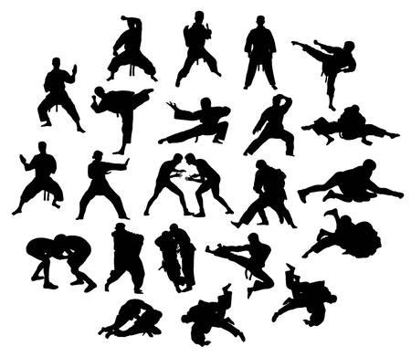 Taekwondo Martial Art Sport Competition, Vector silhouettes Illustration