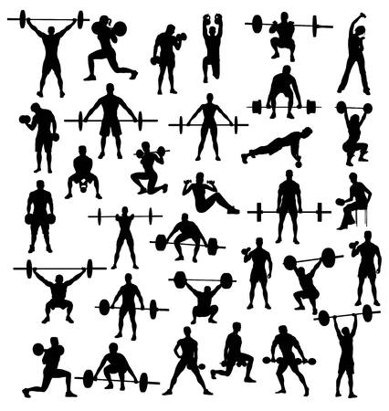 sit up: Silhouette of Action and Activities bodybuilders and weightlifters, art vector design