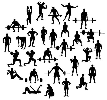 sit up: Sport Activities silhouette of weightlifting and bodybuilding, art vector design