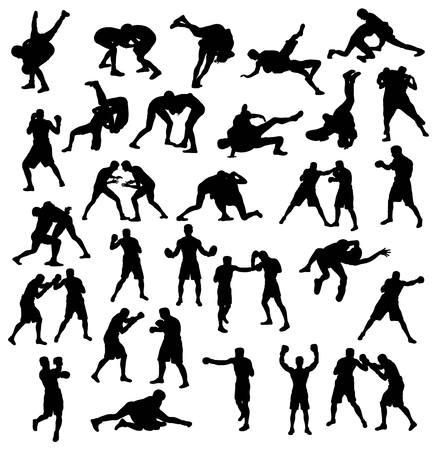 活動のシルエットのスポーツ レスリングとボクシング、アートのベクトルのデザイン  イラスト・ベクター素材