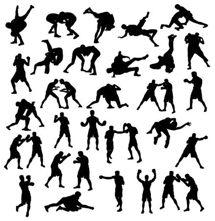 Activities silhouette Sports Wrestling and Boxing, art vector design Çizim