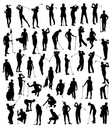 caddy: Golf Player Silhouettes Set, art vector design