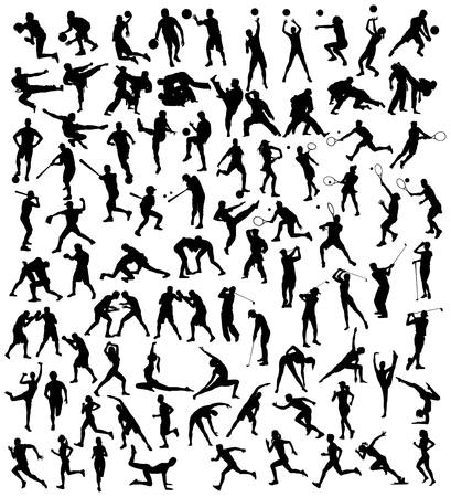 Silhouette Activités sportives Divers, conception de vecteur d'art