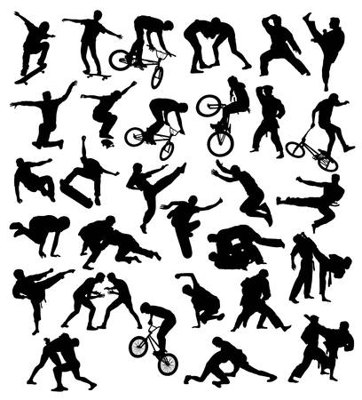parkour: Silhouette extreme sports activities, cycling, skateboarding, parkour, wrestling and martial art                                                                art vector design
