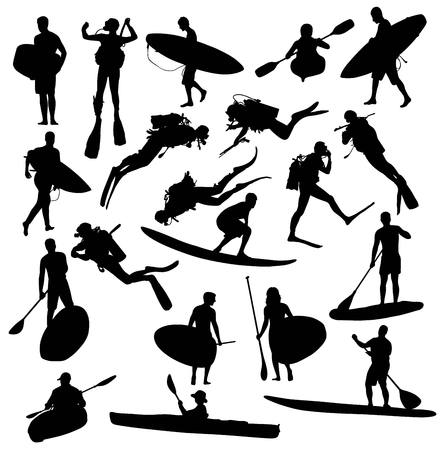 surf team: Silhouette Hobby and Sports Activities Canoe Surfing and Scuba Diving Underwater, art vector design