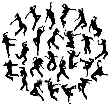 flexible woman: Silhouette Modern Dance, Hip Hop and Street Dancer, art vector design Illustration