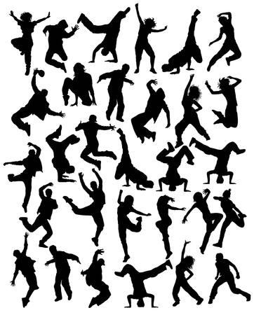 現代ダンス、ヒップホップ、ダンスの人々 のシルエット、ベクター アート
