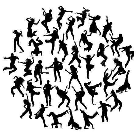 hip hop dancer: Guitarist, Singer and Hip Hop Dancer Silhouettes, art vector design Illustration