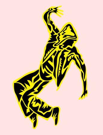 baile hip hop: Danza Hip Hop en extracto de la silueta, diseño del arte del vector Vectores