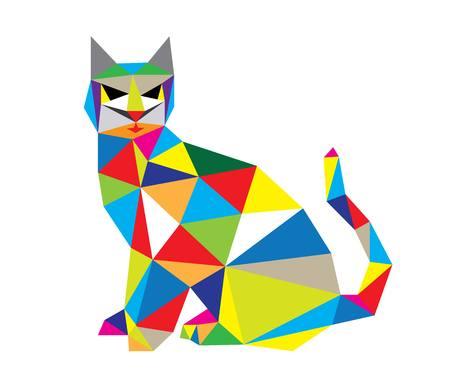 Cat in Geometric Art, vector design Illustration