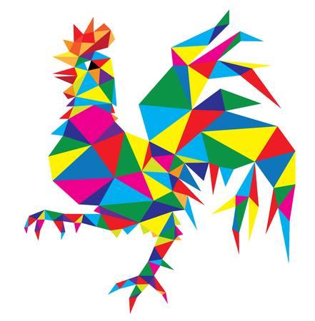 Geometric Rooster Cock Animal,polygonal art vector design