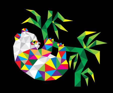 Cute Panda Geometric, polygonal art vector design