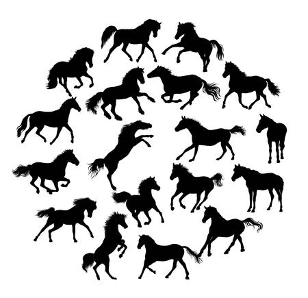 Horse Silhouettes Collection, illustration art vector design