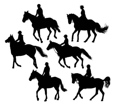 equestrian sport: Equestrian Sport Activity Silhouettes, illustration art vector design