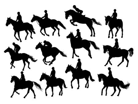 western saddle: Equestrian Sport Activity Silhouettes, illustration art vector design