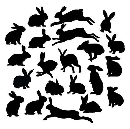 Lindo conejo de la silueta Colección, diseño de ilustración, vector