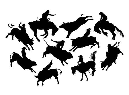 Rodeo cowboy Action and Activity silhouettes