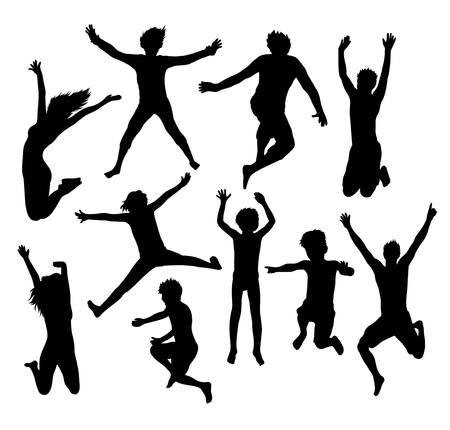 Happy Jumping Togetherness Silhouettes, illustration art vector design Stock Illustratie
