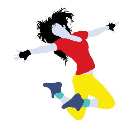 Women Dancing Modern and Fashionable Dress, illustration silhouette art vector design