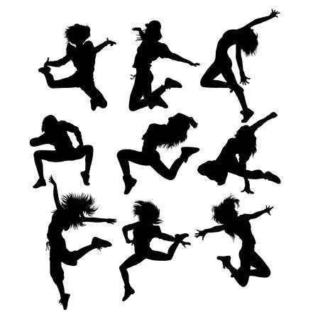 cheer full: Activity and Action Hip Hop Dancer Silhouette, art vector design Illustration