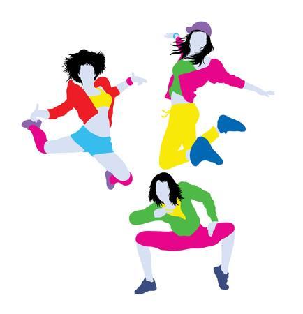 cheer full: Hip Hop Break Dancer Silhouettes, illustration art vector design Illustration