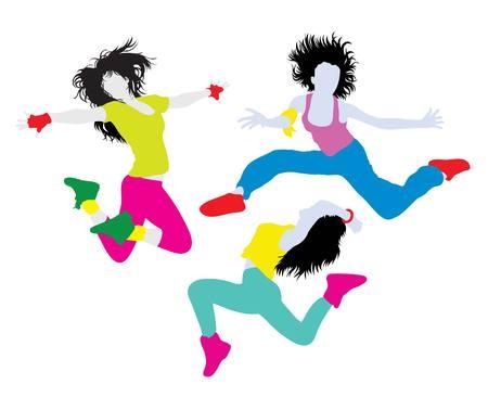 Siluetas felices Actividad Hip Hop, diseño de ilustración, vector