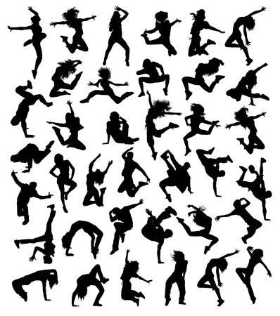힙합 댄스 컬렉션, 그림 미술 벡터 디자인