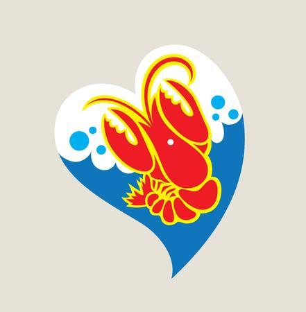pincher: Love Lobster Logo, illustration art vector design Illustration