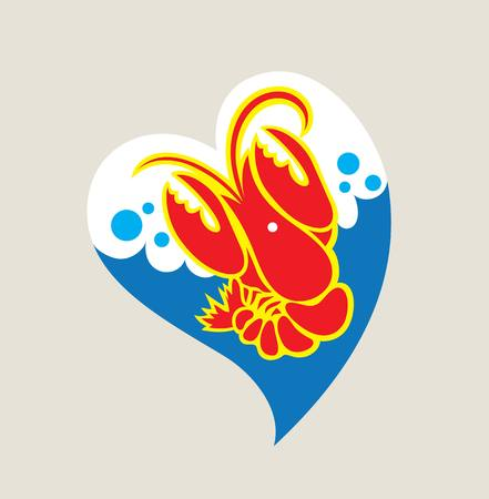 Love Lobster Logo, illustration art vector design Illustration