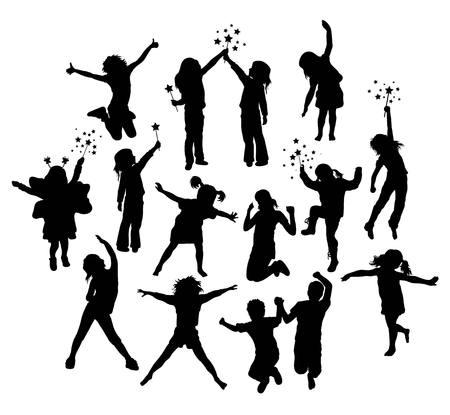 child standing: Happy Children Activity Silhouettes, art vector design