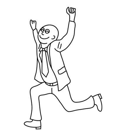 Happy Businessman Line Art cartoon, art vector design
