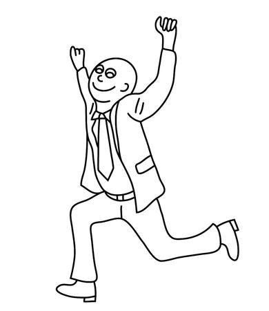 Happy Businessman Line Art cartoon, art vector design Illustration