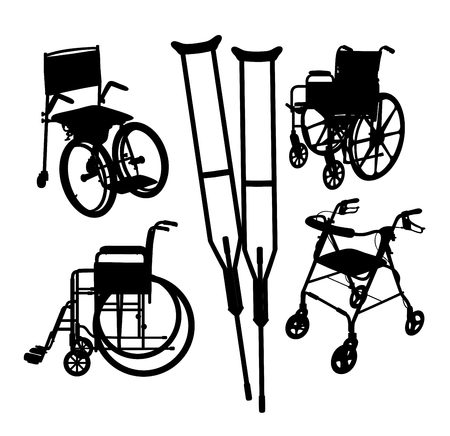 Wheelchair Black Silhouette, art vector illustration Vettoriali