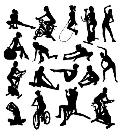 barbel: Woman,Sport Activity Silhouettes, art vector design Illustration