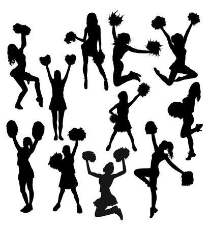 pirouette: Cheerleader Activity Silhouettes, art vector design