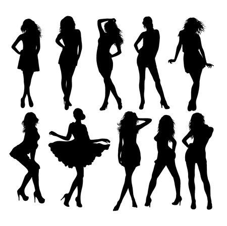 Fashion Girls Model Silhouettes, art vector design
