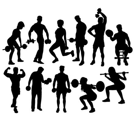 barbel: Fitness Gym Sport Activity Silhouettes, art vector design