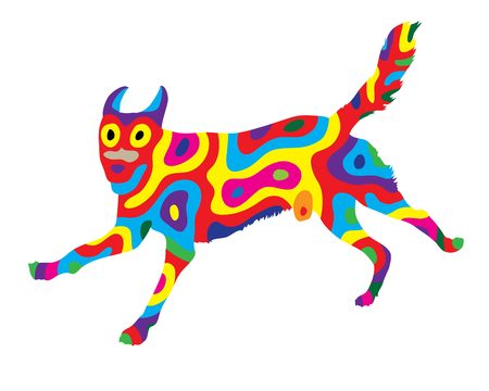Rainbow Dog 1, art vector colorfully abstract design
