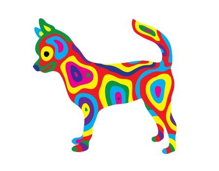 Rainbow Dog 9, art vector colorfully abstract design Illustration