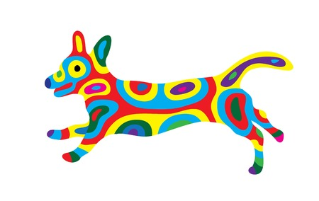 Rainbow Dog 10, art vector colorfully abstract design