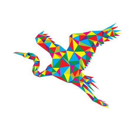 colorfully: Polygonal Heron, geometric art vector design