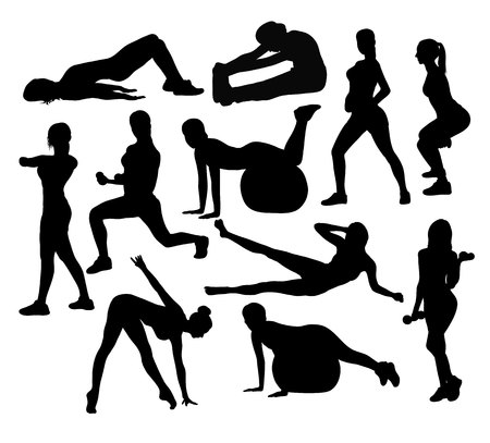 Exercises and Fitness Activity Silhouettes, art vector design