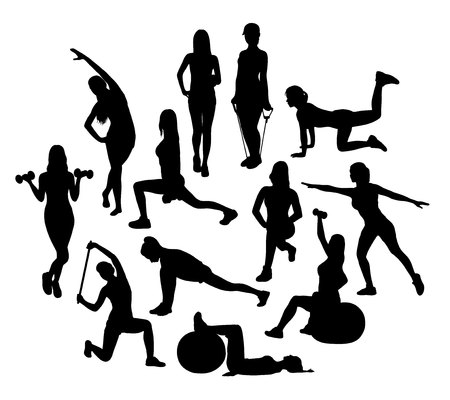 health and fitness: Gym and Fitness Activity Silhouettes, art vector design