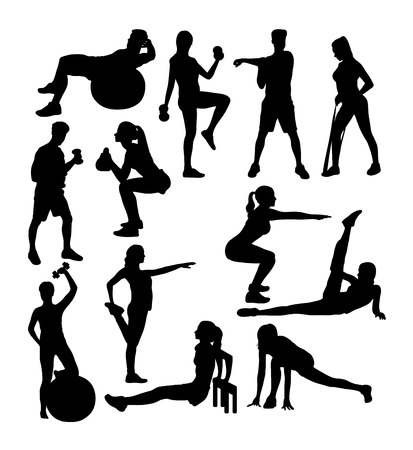 Gym and Fitness Exercises Sport Activity Silhouettes, art vector design