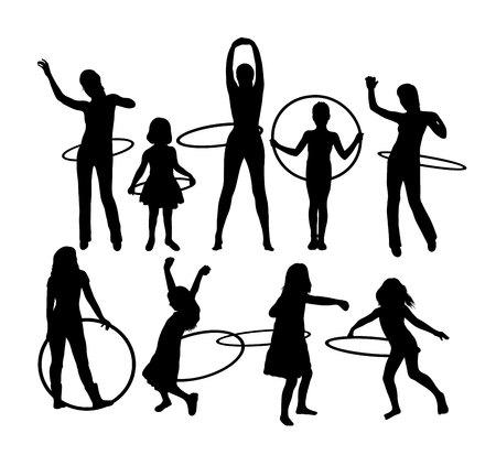 Meisje met Hula Hoop Sport Activiteit Silhouetten, kunst vector design Stock Illustratie