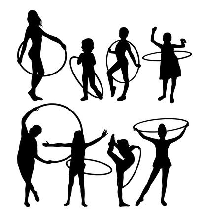 Little Girl Playing With Hula Hoop Silhouettes, art vector design