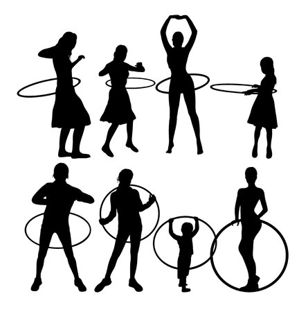 hula hoop: Young Fitness Woman with Hoop Silhouettes.